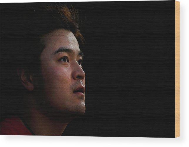 American League Baseball Wood Print featuring the photograph Shin-soo Choo by Tom Pennington