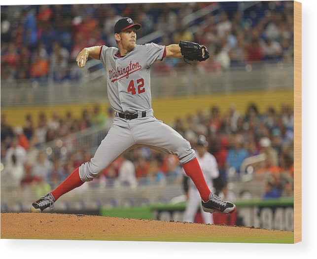 American League Baseball Wood Print featuring the photograph Stephen Strasburg by Mike Ehrmann
