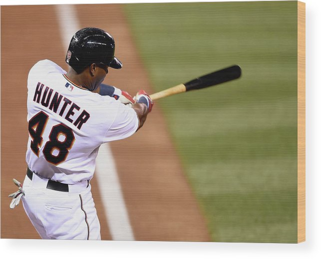 Three Quarter Length Wood Print featuring the photograph Torii Hunter by Hannah Foslien