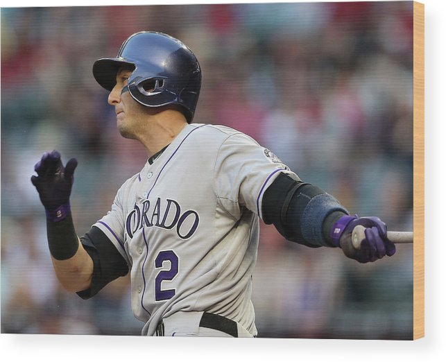 National League Baseball Wood Print featuring the photograph Troy Tulowitzki by Christian Petersen