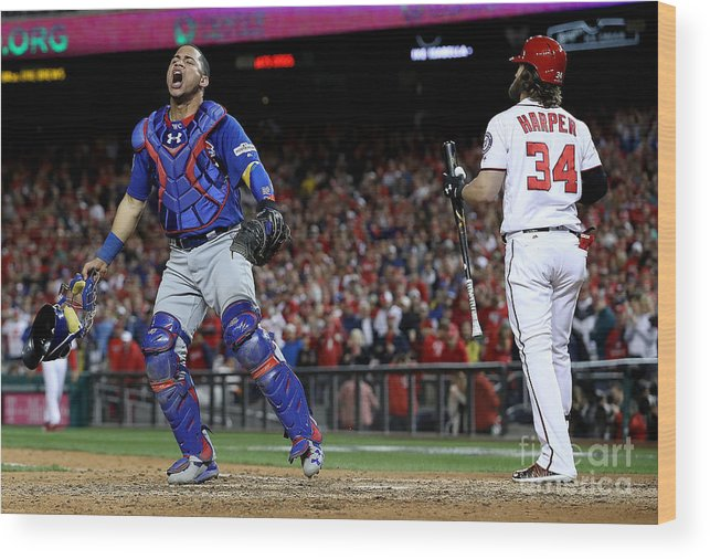 People Wood Print featuring the photograph Willson Contreras and Bryce Harper by Win Mcnamee