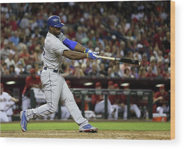 Los Angeles Dodgers Wood Print featuring the photograph Yasiel Puig by Christian Petersen