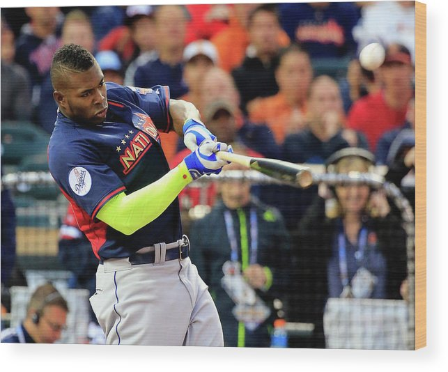 American League Baseball Wood Print featuring the photograph Yasiel Puig by Rob Carr