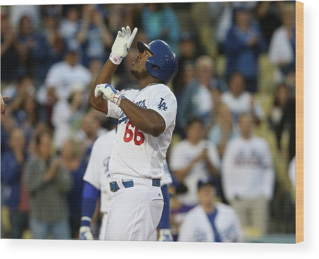 Second Inning Wood Print featuring the photograph Yasiel Puig by Stephen Dunn