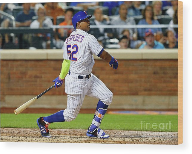 Following Wood Print featuring the photograph Yoenis Cespedes by Jim Mcisaac