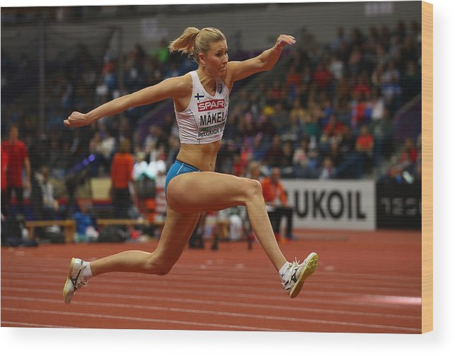 Women's Field Event Wood Print featuring the photograph 2017 European Athletics Indoor Championships - Day Two by Alexander Hassenstein