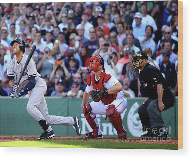 American League Baseball Wood Print featuring the photograph Derek Parks by Al Bello
