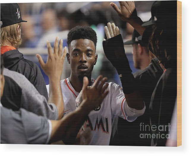 Second Inning Wood Print featuring the photograph Dee Gordon by Mike Ehrmann