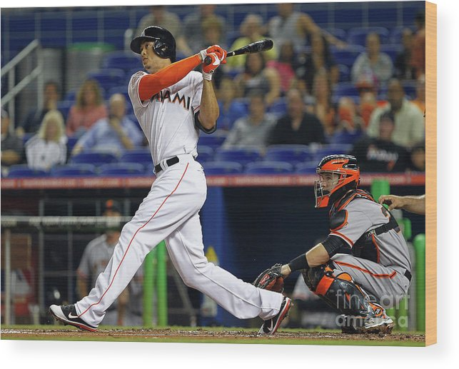 People Wood Print featuring the photograph Giancarlo Stanton by Mike Ehrmann