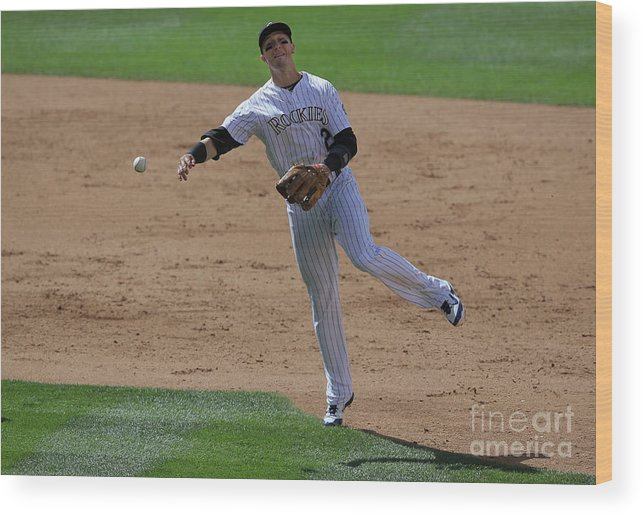 People Wood Print featuring the photograph Troy Tulowitzki by Doug Pensinger