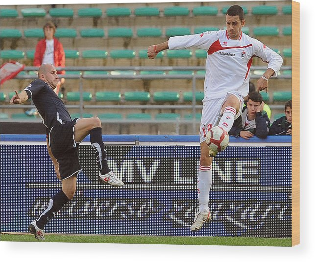 Tommaso Rocchi Wood Print featuring the photograph AS Bari v SS Lazio - Serie A by Giuseppe Bellini