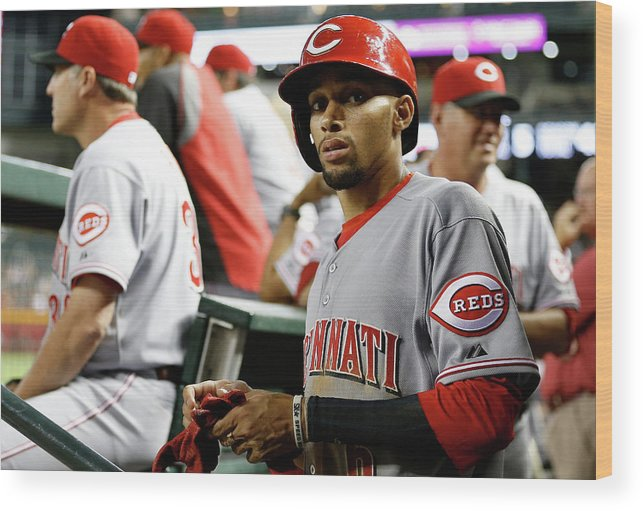 National League Baseball Wood Print featuring the photograph Billy Hamilton by Christian Petersen