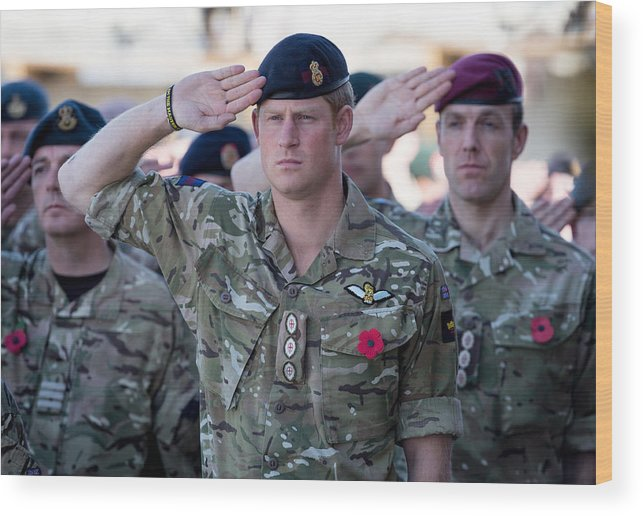 Royalty Wood Print featuring the photograph British Troops In Kandahar Participate In A Remembrance Sunday Service by Matt Cardy