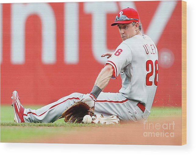 People Wood Print featuring the photograph Chase Utley by Jared Wickerham