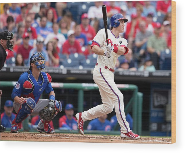 Individual Event Wood Print featuring the photograph Chase Utley by Mitchell Leff