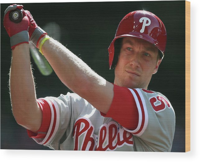 Ninth Inning Wood Print featuring the photograph Cody Asche by Christian Petersen