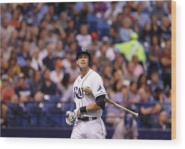 Second Inning Wood Print featuring the photograph Evan Longoria by Brian Blanco