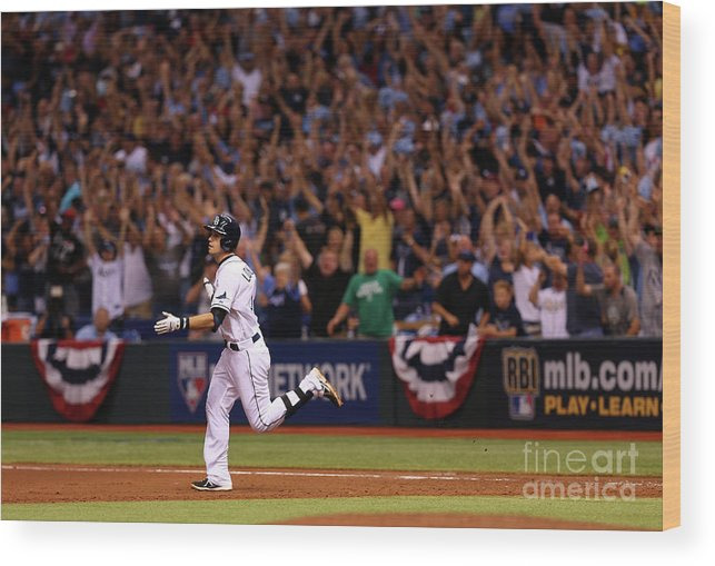 American League Baseball Wood Print featuring the photograph Evan Longoria by Mike Ehrmann