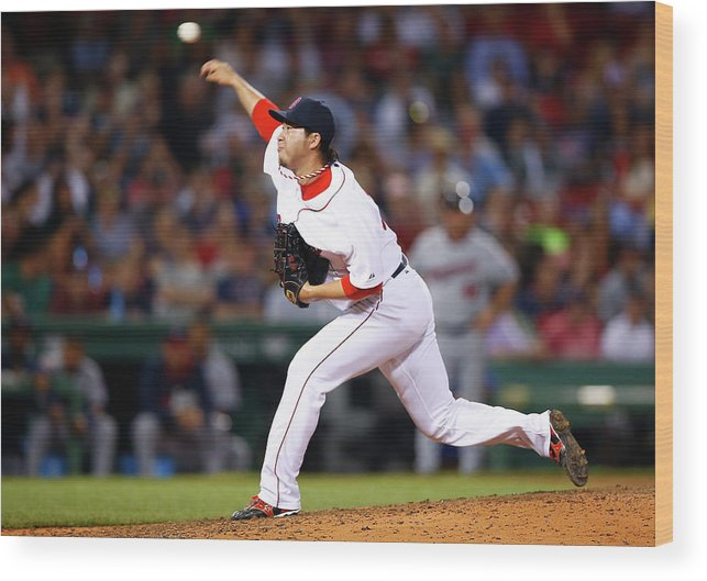 American League Baseball Wood Print featuring the photograph Junichi Tazawa by Jared Wickerham