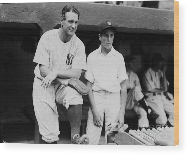 American League Baseball Wood Print featuring the photograph Lou Gehrig by Kidwiler Collection