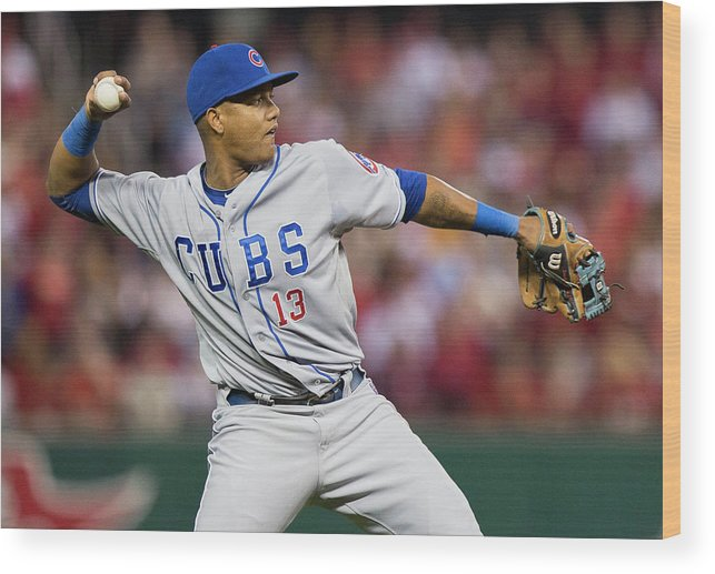 Second Inning Wood Print featuring the photograph Starlin Castro by David Welker