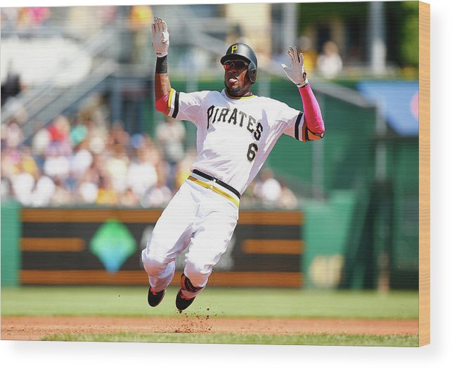 Following Wood Print featuring the photograph Starling Marte by Jared Wickerham