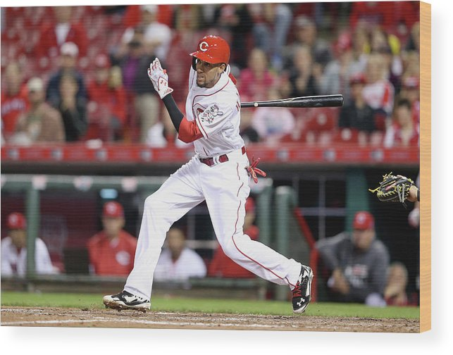Great American Ball Park Wood Print featuring the photograph Billy Hamilton by Andy Lyons