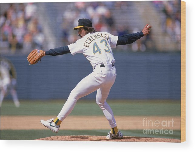 American League Baseball Wood Print featuring the photograph Dennis Eckersley by Otto Greule Jr