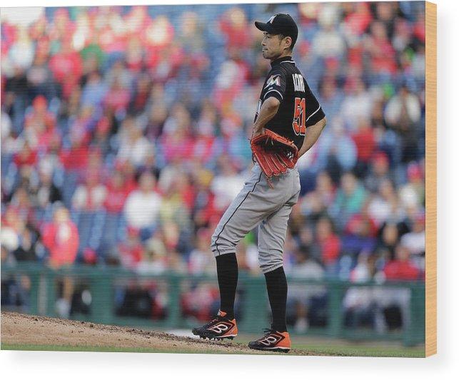 American League Baseball Wood Print featuring the photograph Ichiro Suzuki by Adam Hunger