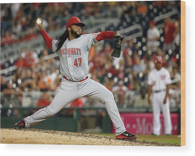 Ninth Inning Wood Print featuring the photograph Johnny Cueto by Rob Carr