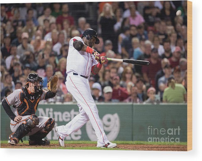 American League Baseball Wood Print featuring the photograph David Ortiz by Michael Ivins/boston Red Sox