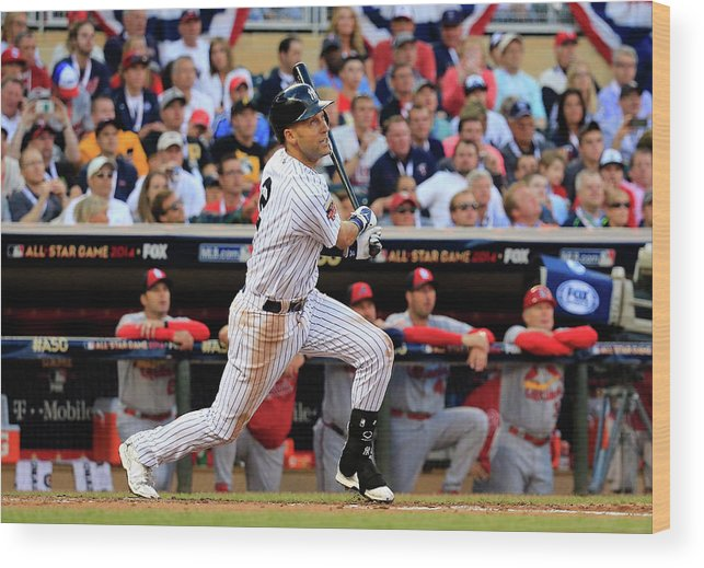 American League Baseball Wood Print featuring the photograph Derek Jeter by Rob Carr
