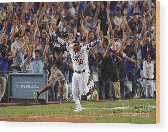 Game Two Wood Print featuring the photograph Justin Turner by Kevork Djansezian