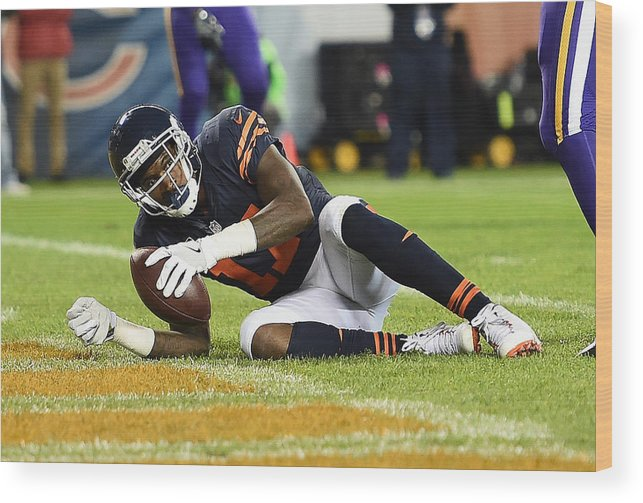 People Wood Print featuring the photograph Minnesota Vikings v Chicago Bears by Stacy Revere