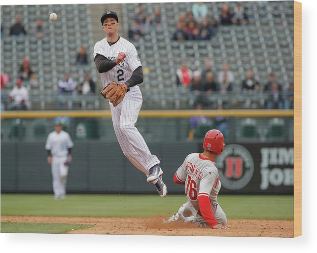 Double Play Wood Print featuring the photograph Troy Tulowitzki by Doug Pensinger