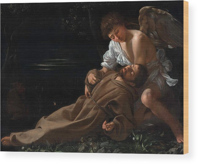 Caravaggio Wood Print featuring the painting Saint Francis of Assisi in Ecstasy by Caravaggio