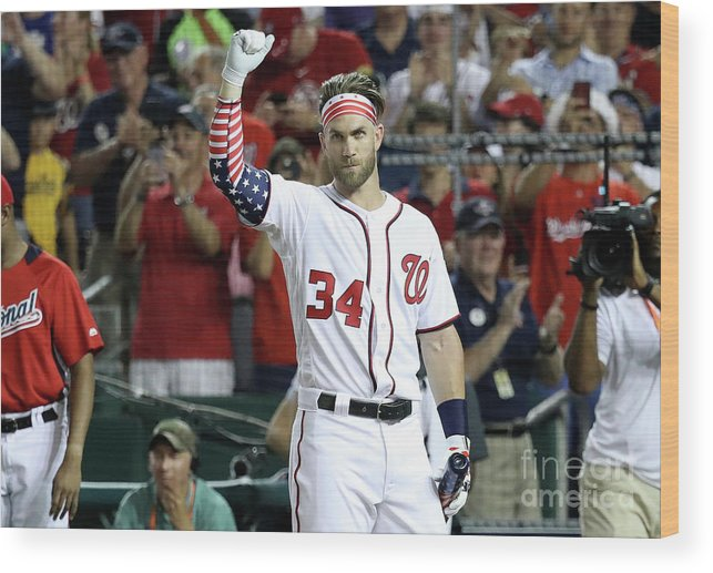 Three Quarter Length Wood Print featuring the photograph Bryce Harper by Rob Carr