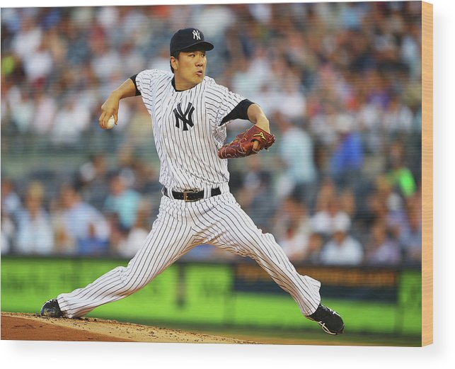 American League Baseball Wood Print featuring the photograph Masahiro Tanaka by Al Bello