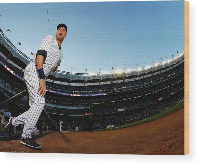 People Wood Print featuring the photograph Derek Jeter by Al Bello