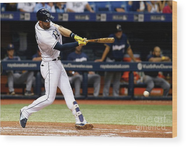 Double Play Wood Print featuring the photograph Evan Longoria by Brian Blanco