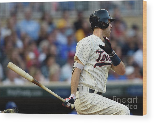 Second Inning Wood Print featuring the photograph Joe Mauer by Hannah Foslien