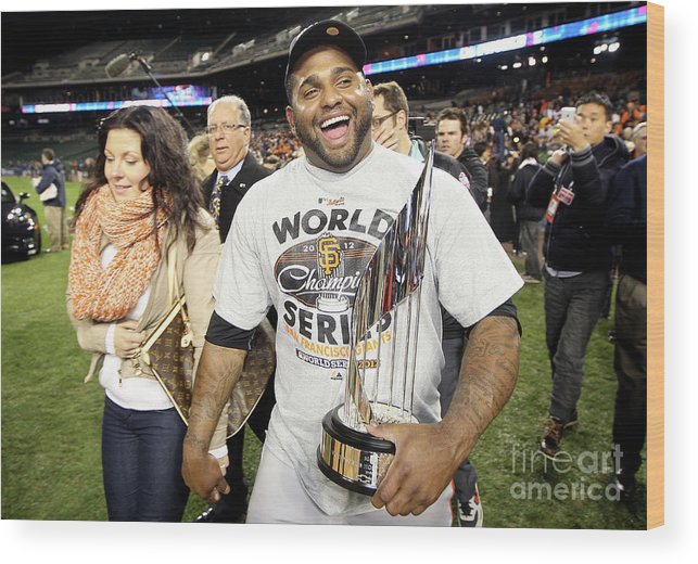 American League Baseball Wood Print featuring the photograph Pablo Sandoval by Ezra Shaw