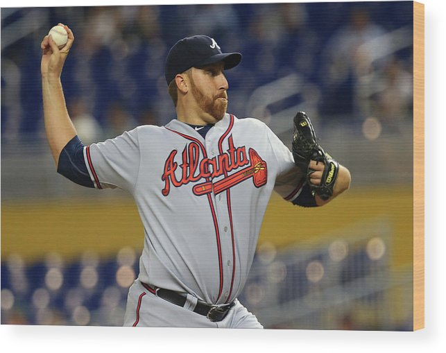 American League Baseball Wood Print featuring the photograph Aaron Harang by Mike Ehrmann