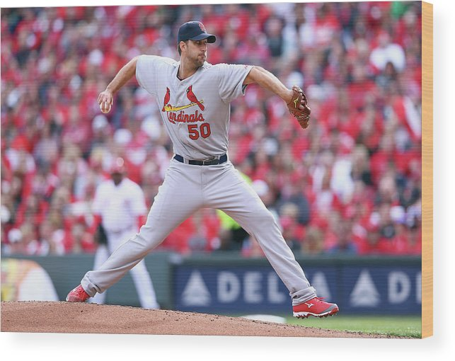 Great American Ball Park Wood Print featuring the photograph Adam Wainwright by Andy Lyons