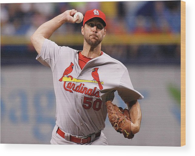 St. Louis Cardinals Wood Print featuring the photograph Adam Wainwright by Brian Blanco