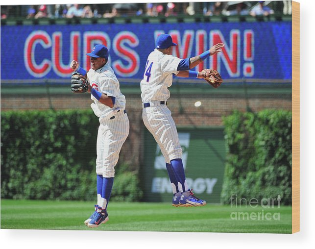 People Wood Print featuring the photograph Addison Russell and Starlin Castro by David Banks