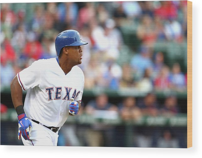 Adrian Beltre Wood Print featuring the photograph Adrian Beltre and Bruce Chen by Ronald Martinez