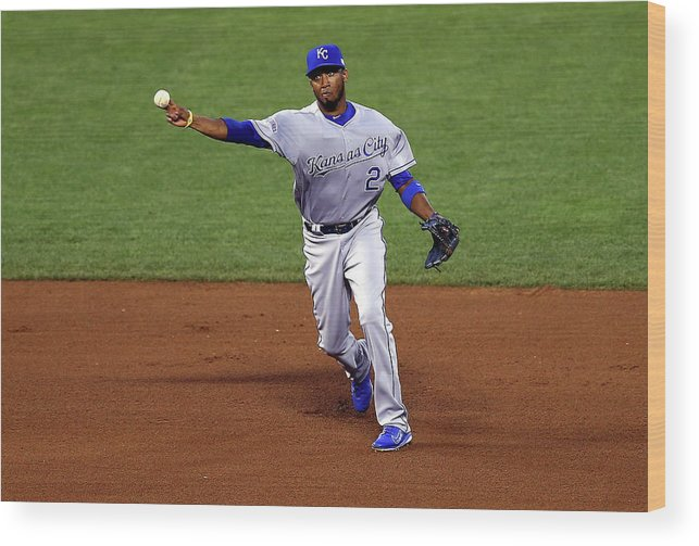 San Francisco Wood Print featuring the photograph Alcides Escobar by Elsa
