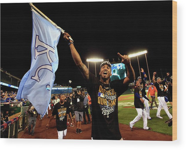 American League Baseball Wood Print featuring the photograph Alcides Escobar by Jamie Squire