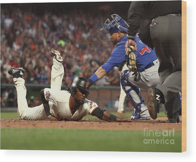 San Francisco Wood Print featuring the photograph Alen Hanson and Willson Contreras by Ezra Shaw